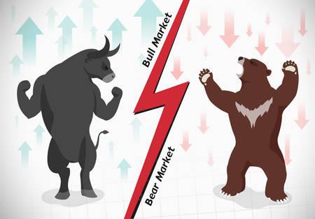 bullish market: Stock market concept bull and bear
