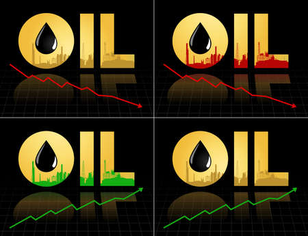 fall down: Set of crude oil price fall down and increase, abstract illustration with refinery plant barrel and graph diagram