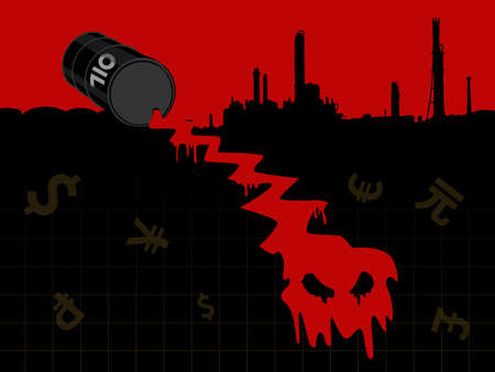 crude: Crude oil price fall down abstract illustration with red leaked oil from barrel fall down form evil head with refinery plant and currency symbol