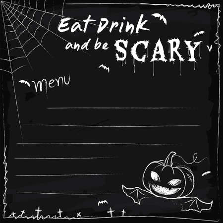 fruit background: Halloween party chalkboard menu board eat drink and be scary