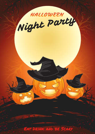 halloween poster: Halloween night party poster eat drink and be scary illustration in vector