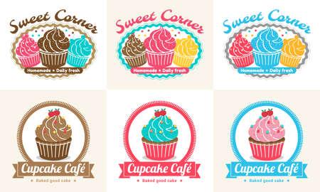 porcion de pastel: Conjunto de dulces de la magdalena etiqueta y diseño de la insignia de la panadería