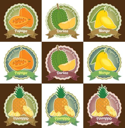 mango juice: Set of various fresh tropical fruits premium quality tag label badge sticker and logo design Illustration