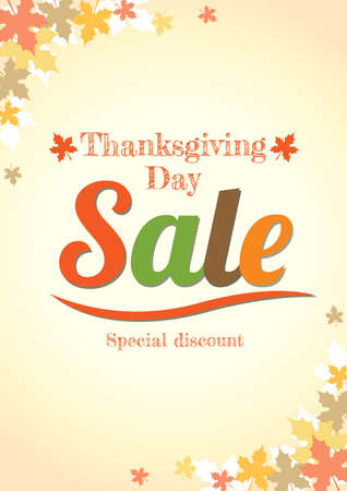 Thanksgiving day sale poster in vector