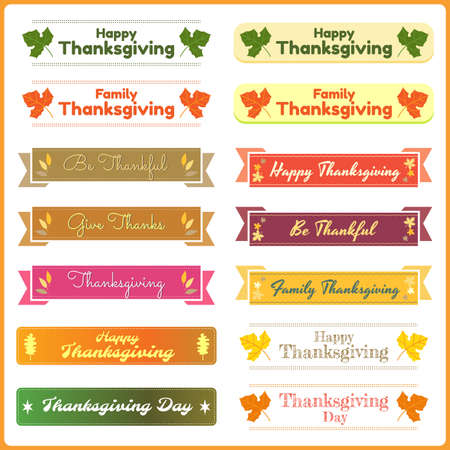 happy: Set of cute and colorful thanksgiving banners in vector