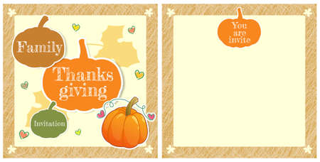 thanksgiving family: Cute family thanksgiving day invitation card in vector Illustration