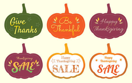 pricetag: Set of happy thanksgiving pumpkin tag label sticker in vector