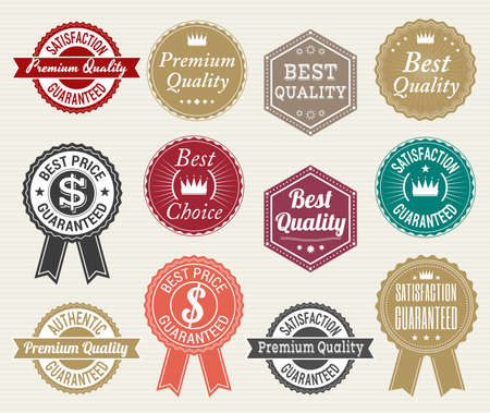 label sticker: Set of retro quality and price guarantee  tag banner label badge sticker ribbon