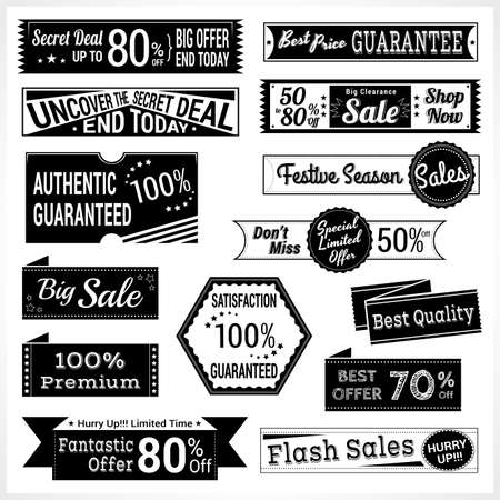 estampilla: Set of retro promotion discount sale and guarantee tag banner label badge sticker ribbon in black and white Vectores