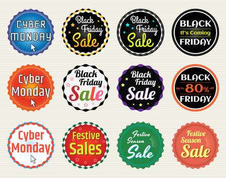 festive season: Set of promotion sale discount badge tag label banner sticker for Black Friday Cyber Monday Festive Season in vector
