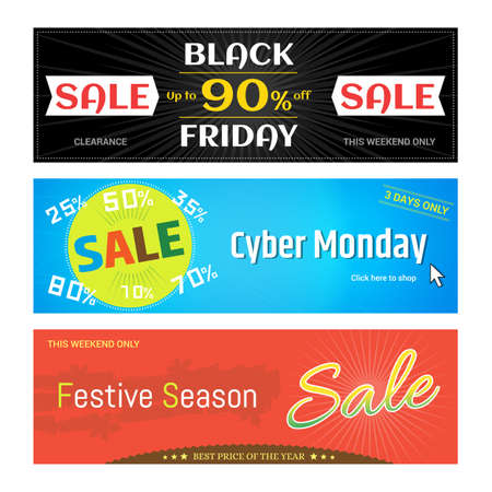 Set of promotion sale discount web banner for Black Friday Cyber Monday Festive Season in vector