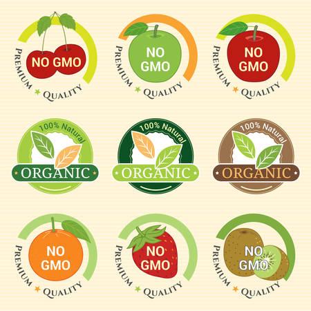 non: GMO Free Non GMO and organic guarantee tag label emblem sticker for fruits strawberry kiwifruit orange apple cherry