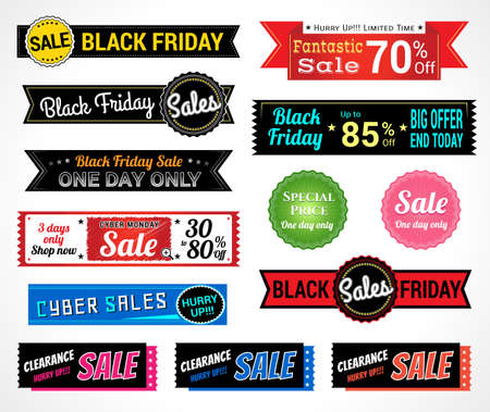 sale: Set of retro promotion discount sale tag banner label badge sticker ribbon for Black Friday Cyber Monday