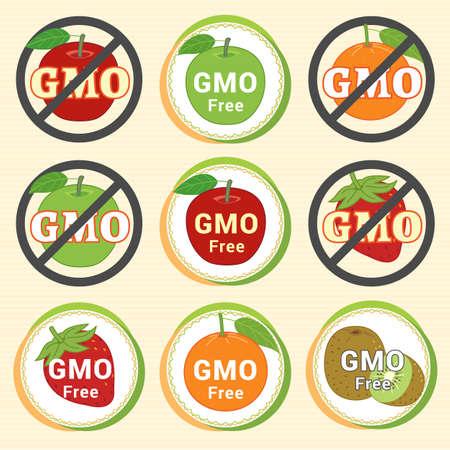 non: GMO Free Non GMO guarantee tag label emblem sticker for red green apple orange kiwi fruit