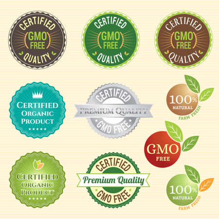 gmo: GMO Free Non GMO and organic guarantee tag label emblem sticker for plant fruits and vegetable