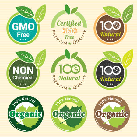 set free: GMO Free Non GMO and organic guarantee tag label emblem sticker for plant fruits and vegetable