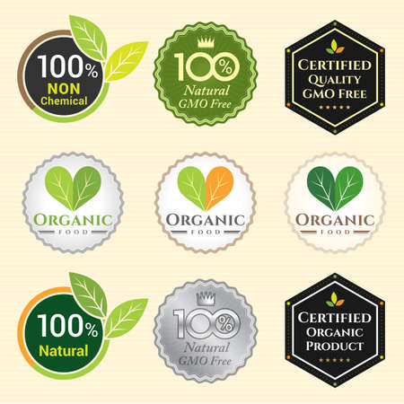 non vegetarian: GMO Free Non GMO and organic guarantee tag label emblem sticker for plant fruits and vegetable
