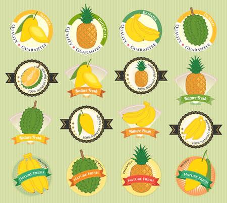 様々 な新鮮なフルーツと野菜のプレミアム品質タグ ラベル バッジのステッカーやロゴのデザインのセット
