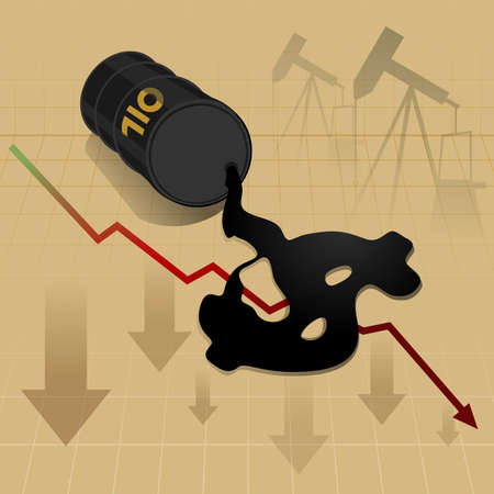 Business graph: Crude oil price fall down abstract illustration with oil leaked oil from barrel form dollar sign