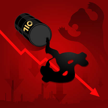 energy crisis: Crude oil price fall down abstract illustration with oil leaked oil from barrel form dollar sign