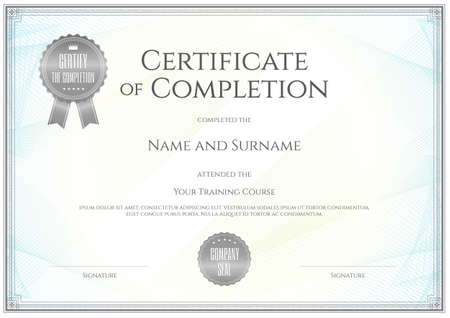 a graduate: Certificate template in vector for achievement graduation completion