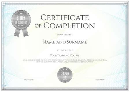 Szablon certyfikatu wektora zakończenia realizacji ukończenia Ilustracje wektorowe