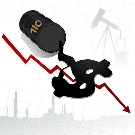 oil barrel: El precio del crudo caen ilustraci�n abstracta con el aceite filtrado desde el barril signo de d�lar forma Vectores