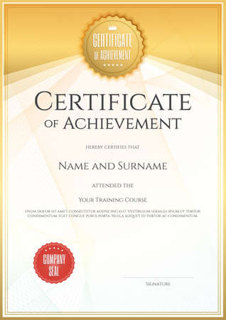 portraits: Certificate template in vector for achievement graduation completion