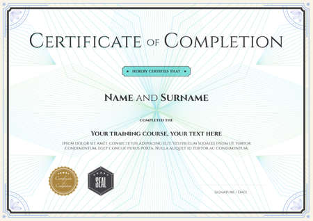 Certificate Template For Achievement Graduation Completion Royalty