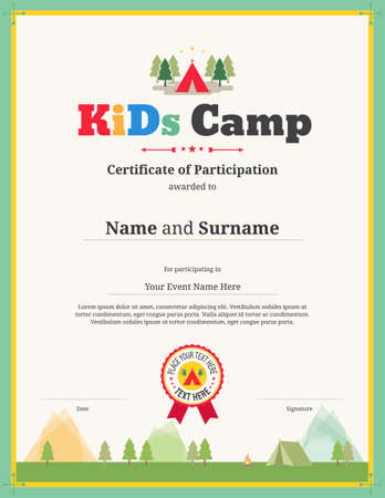 Kids certificate template for camping participation
