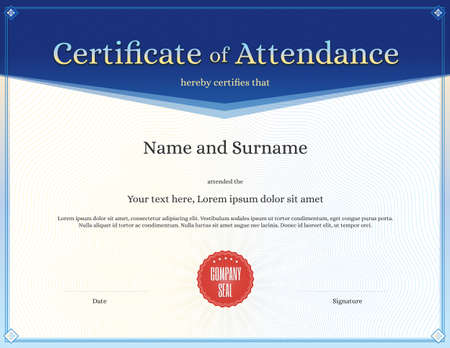 attendance: Certificate of attendance template for achievement graduation completion
