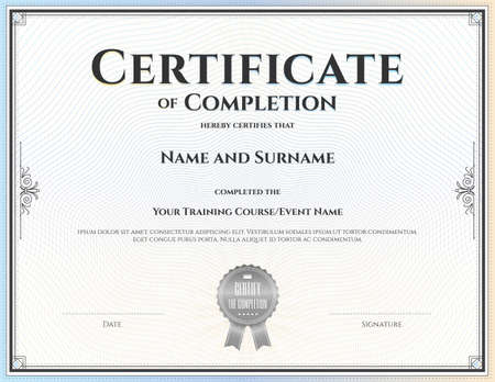 completion: Certificate of completion template for achievement graduation completion