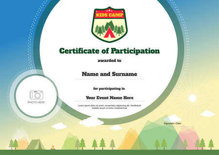 Colorful kids summer camp diploma certificate template in cartoon kids certificate template for camping participation vector yadclub Choice Image