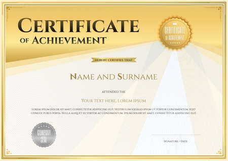 Certificate template in vector for achievement graduation completion