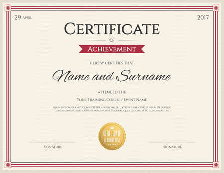 completion: Certificate template in vector for achievement graduation completion