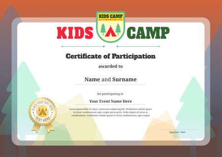 participation: Kids certificate template in vector for camping participation Illustration