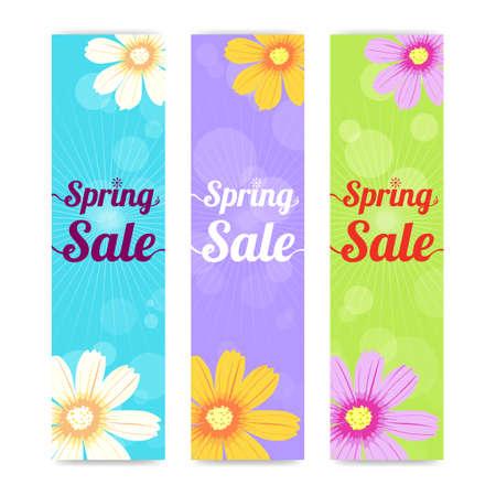 side effect: Set of spring season sales vertical banner background