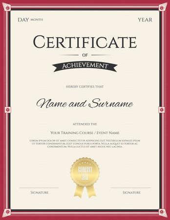 Certificate of Achievement template  for graduation completion Çizim