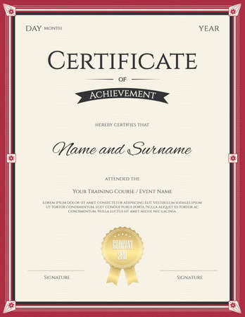 Certificate of Achievement template  for graduation completion Illustration