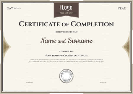 completion: Certificate of completion template  for achievement graduation Illustration
