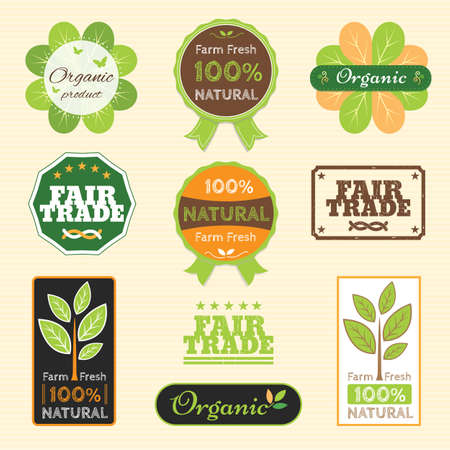 trade fair: Set of organic non chemical quality and fair trade guarantee tag label emblem sticker for plant fruits and vegetable