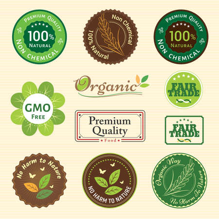 quality guarantee: Set of organic non chemical quality and fair trade guarantee tag label emblem sticker for plant fruits and vegetable