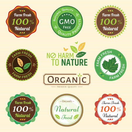non vegetarian: Set of organic non chemical quality and fair trade guarantee tag label emblem sticker for plant fruits and vegetable