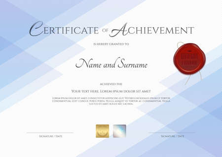 59042793 certificate of achievement template with red wax seal in vector - Certificate Of Accomplishment Template