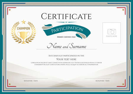 participation: Certificate of participation template with green broder, gold trophy, champion wreath and photo space