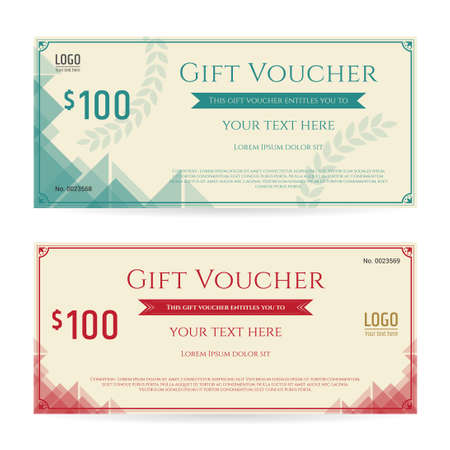 complimentary: Modern gift voucher, gift certificate or gift card on old paper background Illustration