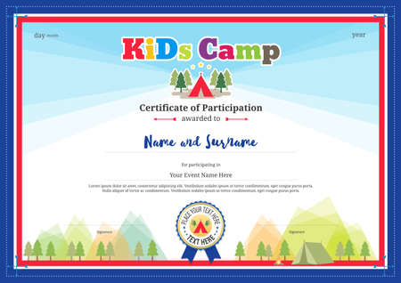 participation: Colorful and modern certificate of participation for kids activities or kids camp with camping background