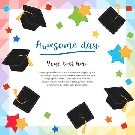 Colorful graduation day card illustration design with flying graduation caps Ilustracja