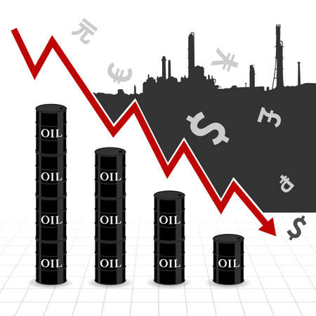 fall down: Crude oil price fall down abstract illustration with downtrend red arrow, oil barrel graph, currency symbol and refinery factory