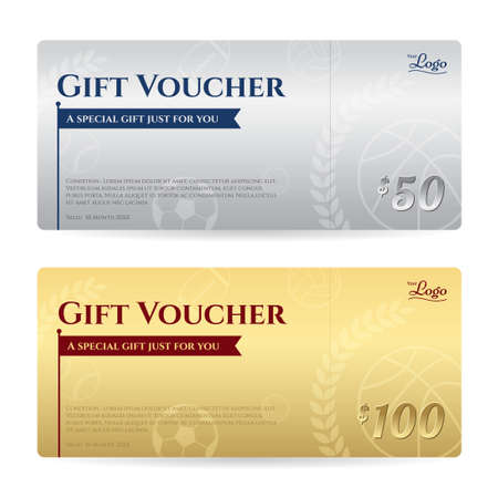 complimentary: Gift voucher or gift certificate template in luxury gold and silver theme